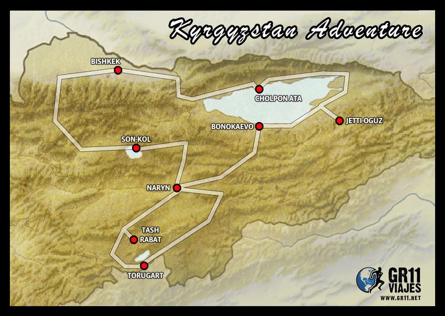 Mapa viaje al Kirguistán