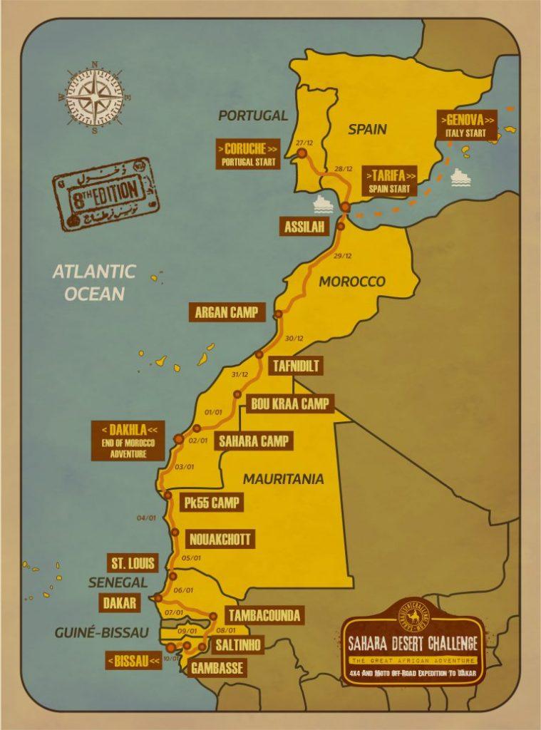 Mapa Sahara Desert Challenge 2019